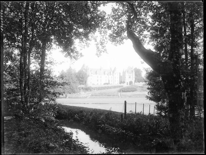 Sous-bois du parc, vue éloignée sur le château
