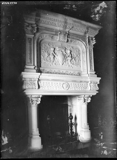 Intérieur : cheminée sculptée