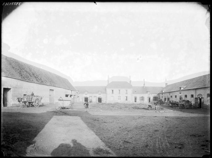 Cour de la ferme : paysans et charrettes
