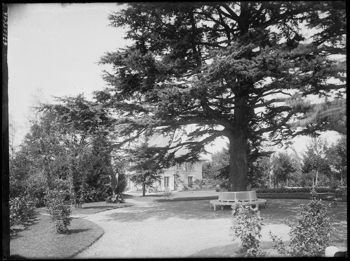 Parc : banc autour d'un arbre, pavillon
