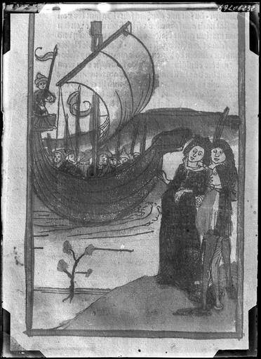 Estampe ancienne représentant des femmes et un bateau