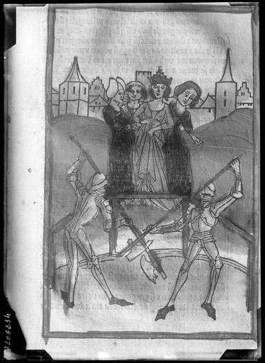 Estampe ancienne représentant des chevaliers et des femmes