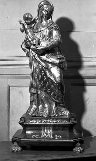 Statuette en argent de la Vierge à l'Enfant sur socle