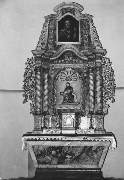 autel, retable, groupe sculpté, tableau (maître-autel) : Vierge de Pitié