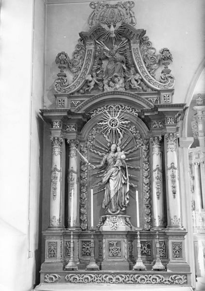 retable, statue : Vierge à l' Enfant