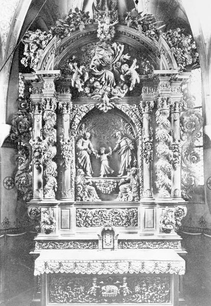 autel, tabernacle, retable, statues (2), groupe sculpté (maître-autel, autel tombeau, retable architecturé)