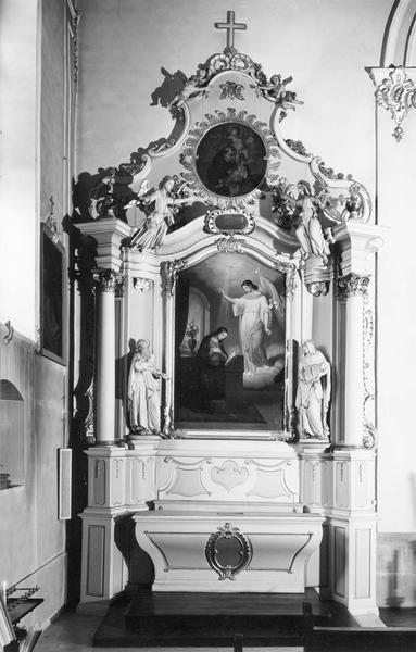 autel, retable, statues, tableau (autel secondaire) : Annonciation