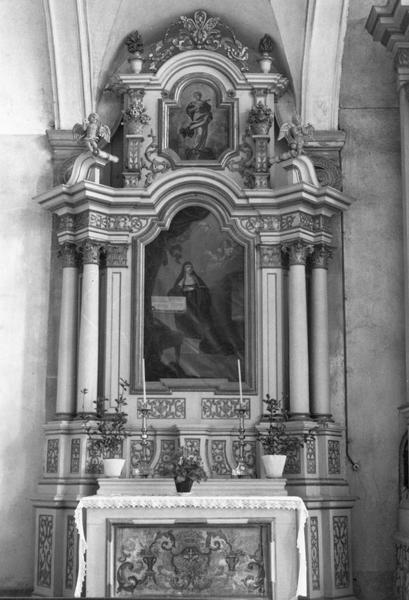 autel, retable, tableaux (2) (autel secondaire) : sainte Scholastique
