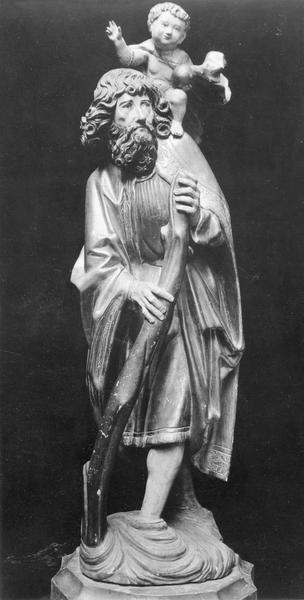 groupe sculpté : saint Christophe portant l'Enfant Jésus