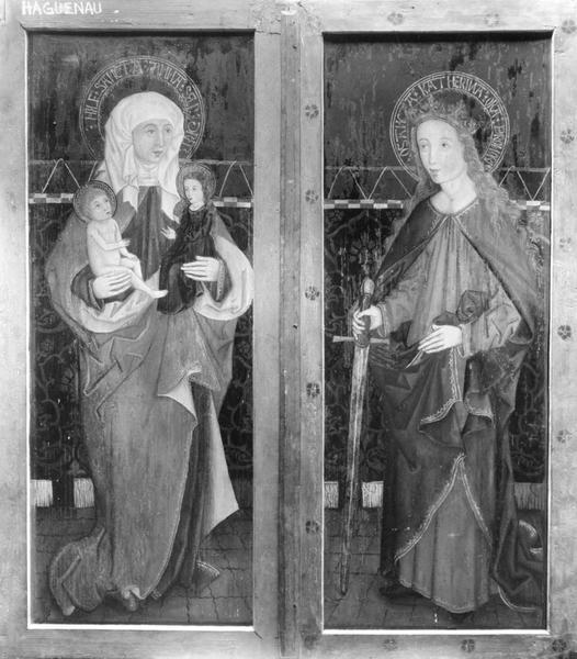 retable (triptyque, volets fermés) : du Saint Sacrement, Sainte Anne, Sainte Catherine