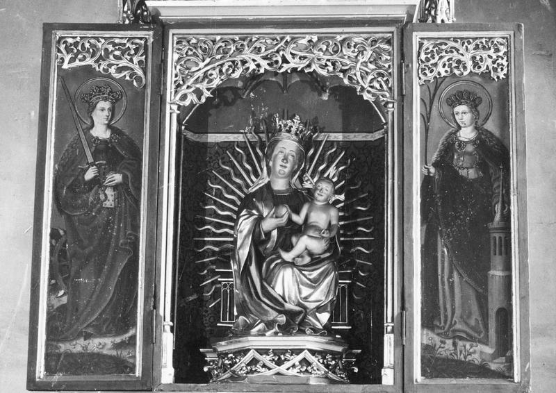 retable (volets ouverts) : Vierge à l'Enfant, sainte Catherine, sainte Barbe