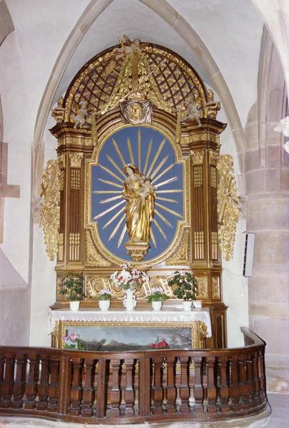 autel, retable, tableau (autel secondaire) : Vierge à l' Enfant, arrivée de la Croix à Niedermunster (vue d'ensemble)