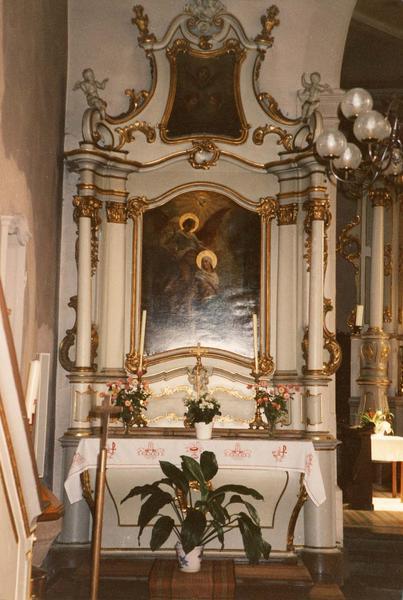 autel, retable, tableaux (2) (autel secondaire) : Annonciation, trois séraphins