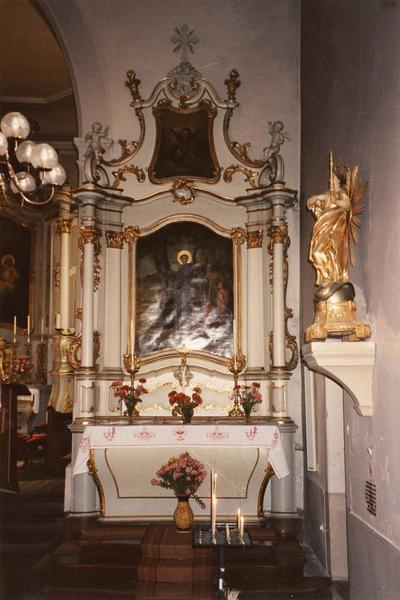 autel, retable, tableaux (2) (autel secondaire) : prédication aux poissons de saint François d' Assise (la), trois séraphins (vue d'ensemble)