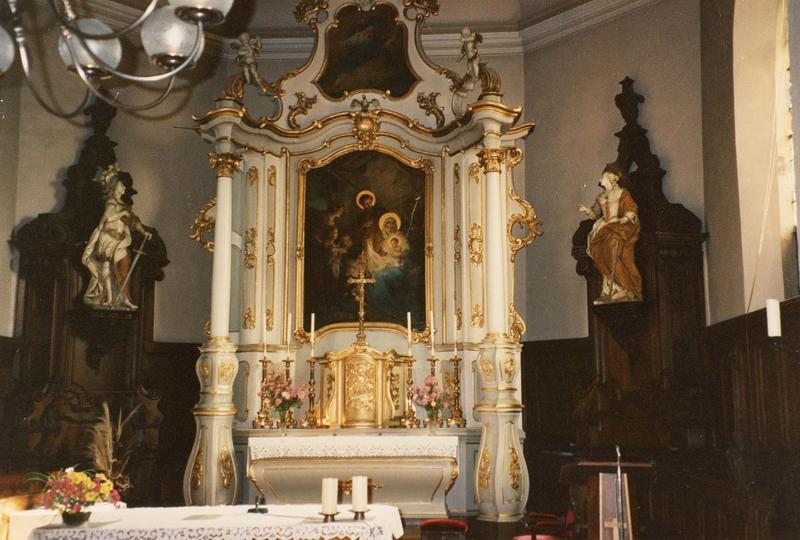 autel, tabernacle, retable, tableaux (2) (maître-autel) : Adoration des bergers, Dieu le Père (vue d'ensemble)
