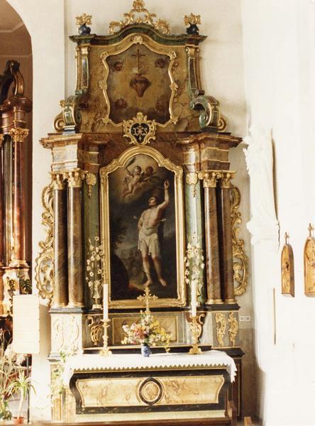 autel, retable, tableaux (2) (autel secondaire) : martyre de saint Sébastien, coeur ardent et couronne d' épines