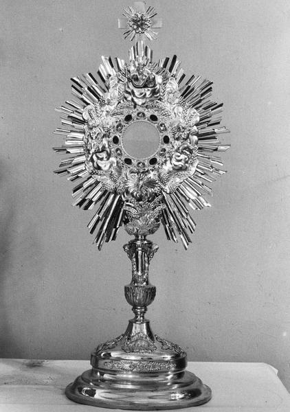 ostensoir : Agneau mystique, Sainte Face, Dieu le Père, anges