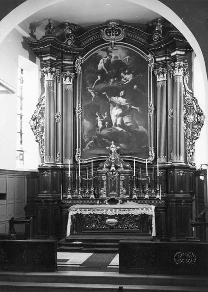 autel, tabernacle, croix d' autel, tableau (crucifix) : la vision de sainte Barbe