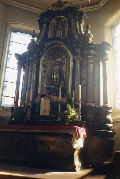 autel, retable, tabernacle, statue (maître-autel) : saint Jean-Baptiste