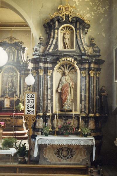 autel, retable, statues (4) (autel secondaire)