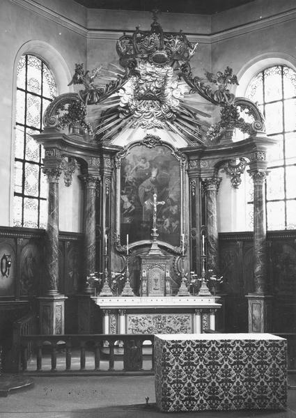autel, tabernacle, retable, baldaquin, tableau (maître-autel) : miracle de saint Nicolas