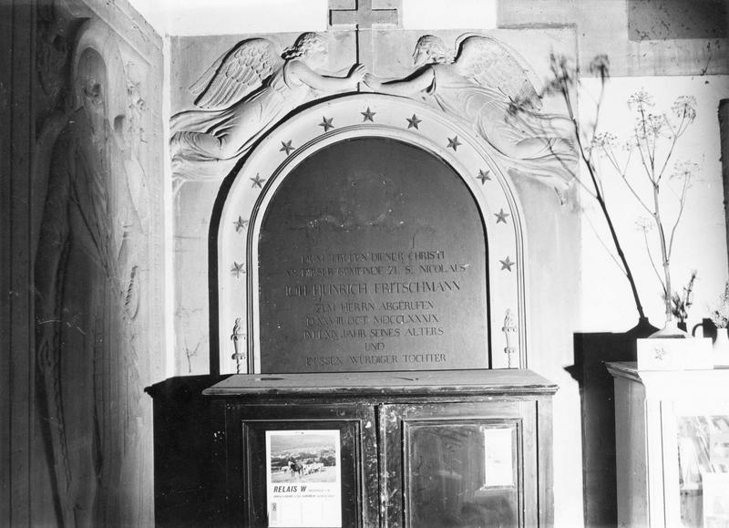 plaque funéraire, de Johann Heinrich Fritschmann et de sa fille Katharina Elisabeth, épouse de Friedrich Lichtenberger
