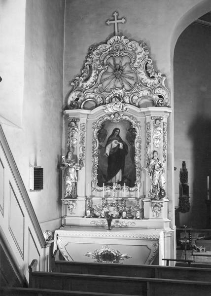 autel, retable, statues (2) (autel secondaire, autel tombeau, retable architecturé)