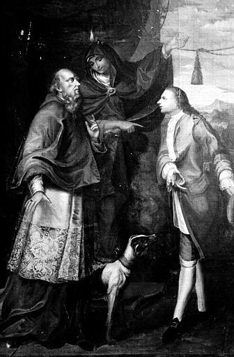Tableau : la Vierge présentant un gentilhomme à un évêque