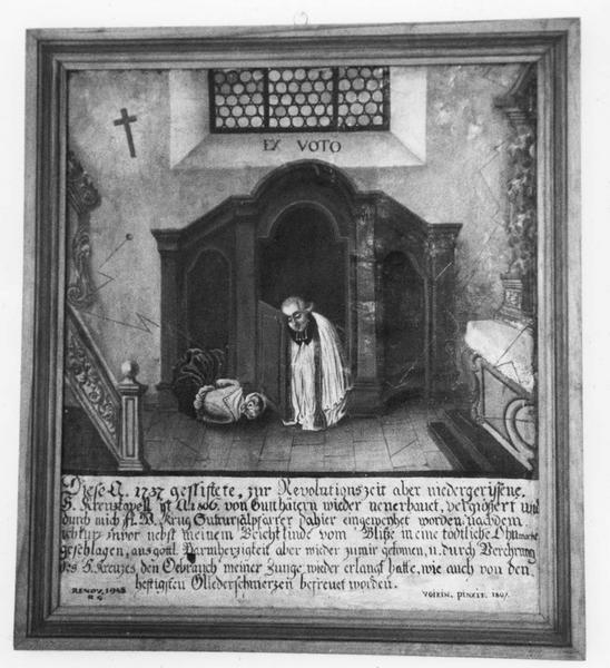 ex-voto, tableau : curé et pénitente évanouis dans un confessionnal touchés par la foudre