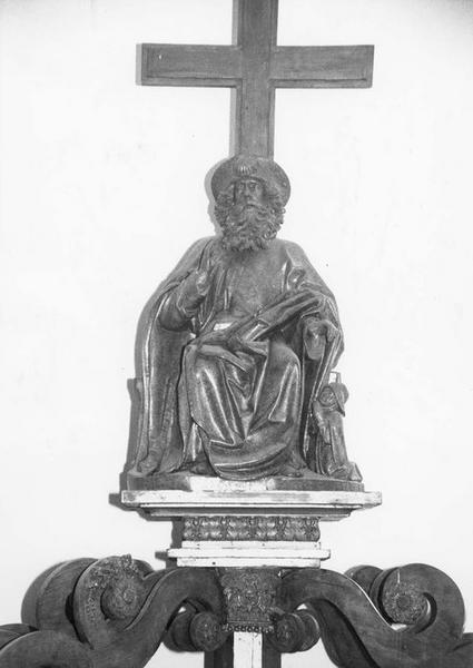 groupe sculpté : saint Jacques le Majeur avec un pèlerin, vue générale