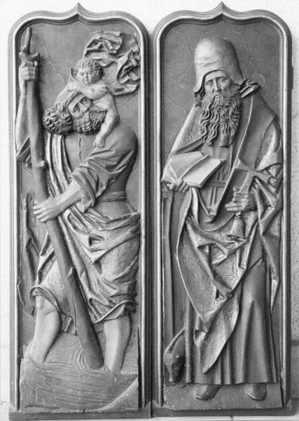bas-reliefs (2) : saint Christophe, saint Antoine l'ermite, vue générale