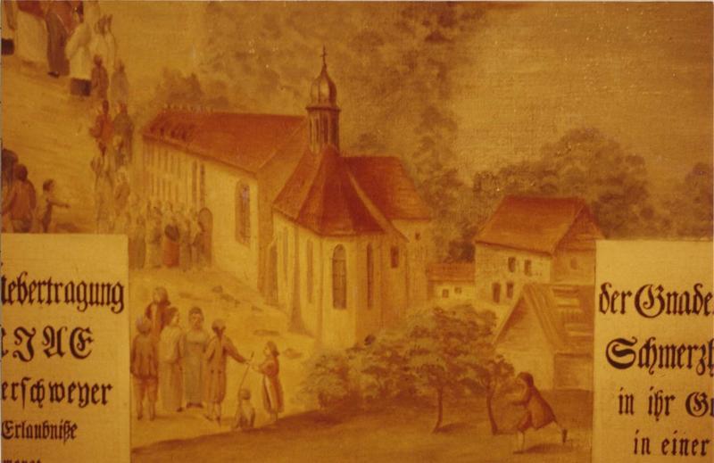 tableau, cadre : le transfert de la statue miraculeuse d' Ammerschwihr aux trois épis, détail
