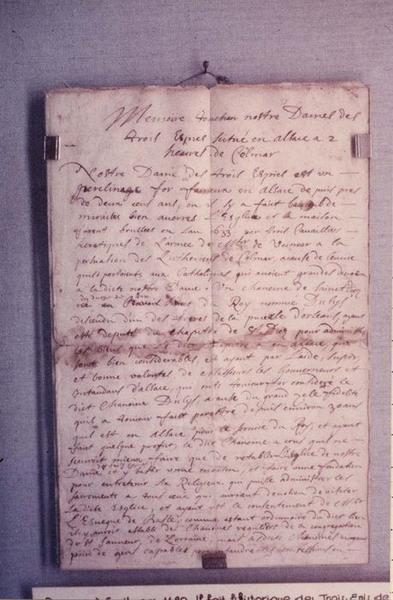 manuscrit : historique des trois épis de 1633 à 1688, vue générale