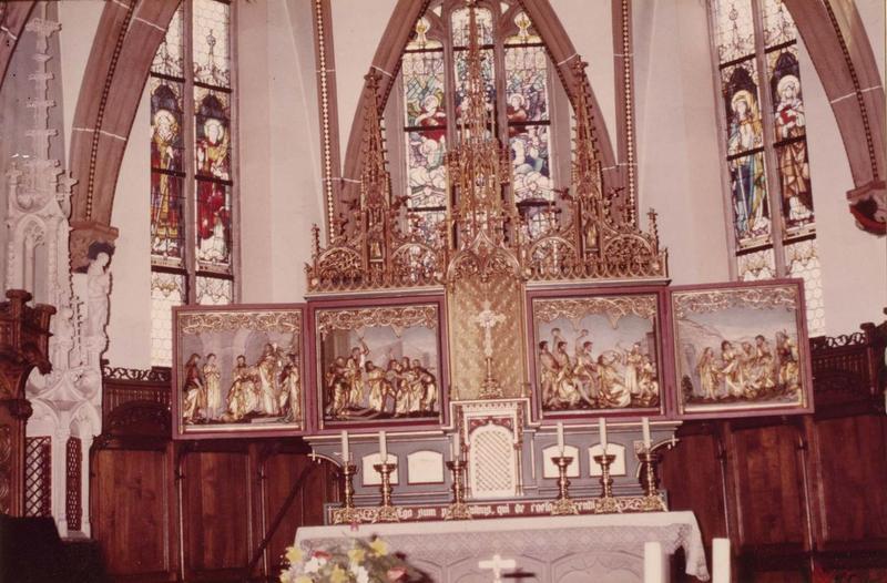 autel, tabernacle, retable (maître-autel), vue générale avec les volets ouverts