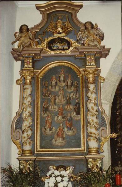 autel, retable, tableau, cadre : les intercesseurs, dit des saints intercesseurs, vue générale