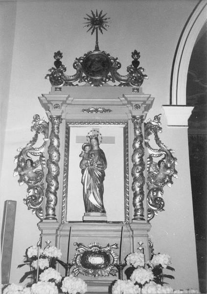 retable latéral gauche, statue : Vierge à l' Enfant, vue générale