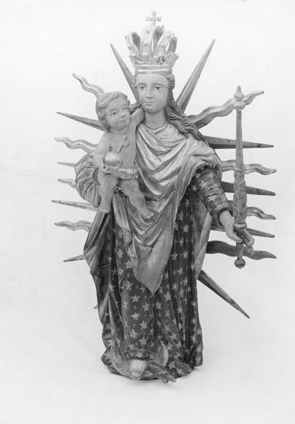 statue de procession : Vierge à l'Enfant, vue générale