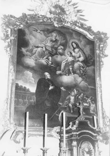 tableau, cadre : Vierge à l' Enfant, Dieu le Père et le Saint-Esprit apparaissant à saint Gall, vue générale
