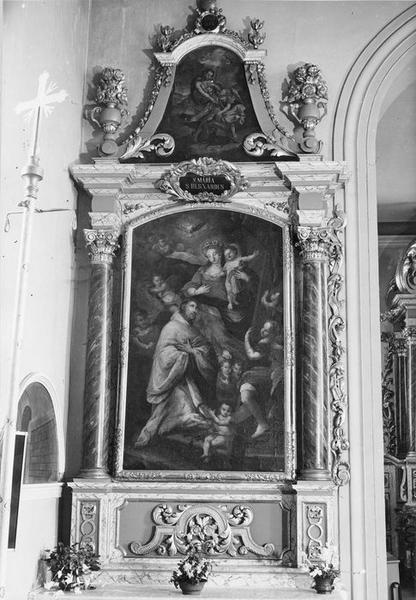 autel, retable, tableaux (2) : Vierge à l'Enfant et saint Bernard entourés d' anges (la), saint Roch, vue générale