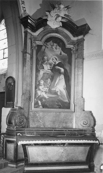 autel, retable, tableau : saint Dominique, vue générale
