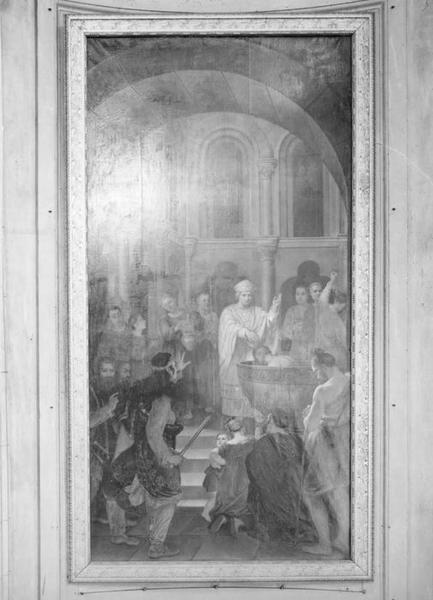 tableau : intrusion du roi Childéric d'Austrasie dans le baptistère où saint Léger baptiste Clovis, vue générale