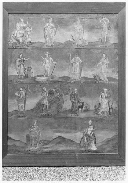 tableau : quatorze saints intercesseurs disposés sur quatre registres, vue générale