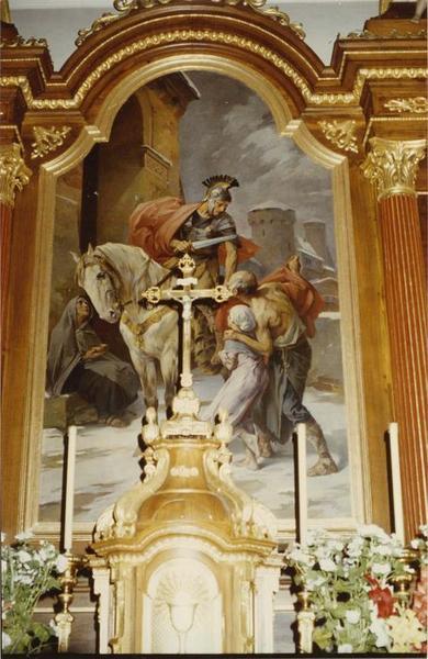 tableau : la charité de saint Martin, du maître-autel, vue générale