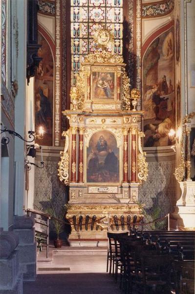 autel, retable, tableaux (2) : Vierge à l'Enfant tenant le scapulaire entre saint Odilon et saint Simon Stock, Education de la Vierge, des âmes du Purgatoire, vue générale