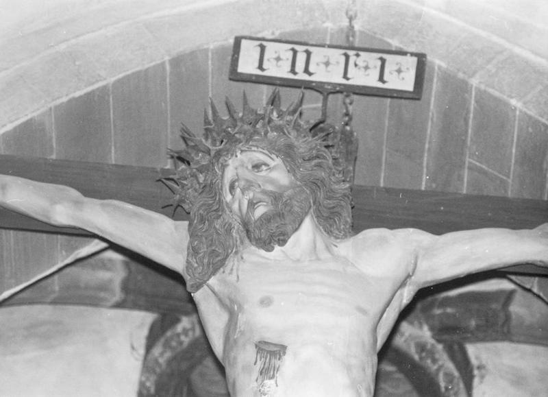 poutre de gloire, groupe sculpté : calvaire, détail du visage du Christ