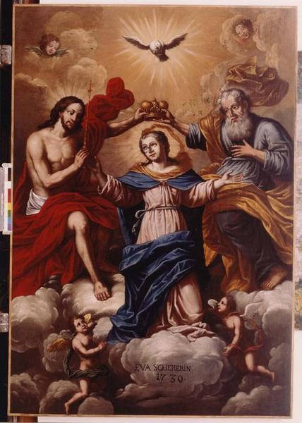 tableau, cadre : le Couronnement de la Vierge, vue générale
