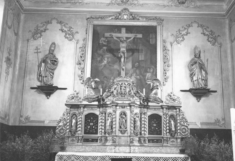autel, retable, tabernacle, statues (2) (maître-autel) : saint Léon IX, saint Nicolas, vue générale