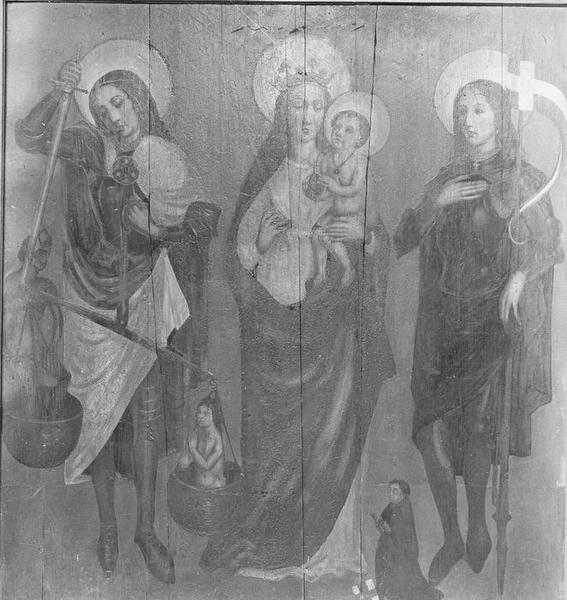 Tableau : Vierge à l'Enfant avec saint Michel et saint Gangolphe, calvaire