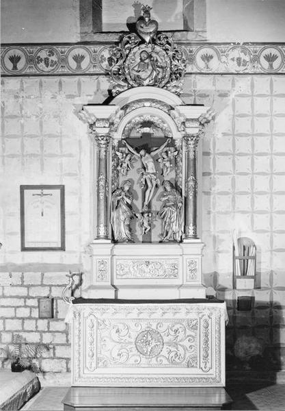 autel, retable : calvaire, du précieux sang, vue générale