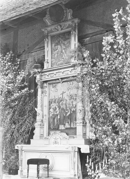 autel, retable, tableaux (3) : la saints intercesseurs, Dieu le Père, Vierge, des quatorze saints intercesseurs, vue générale